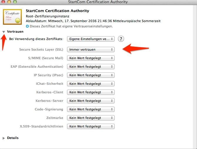 Mac OS X SSL Zertifikatseinstellungen in der Schlüsselbundverwaltung